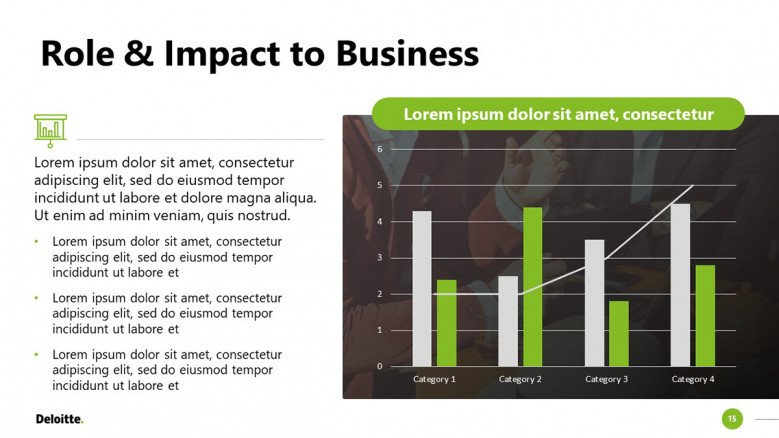 Data Slide with bar charts in green and white