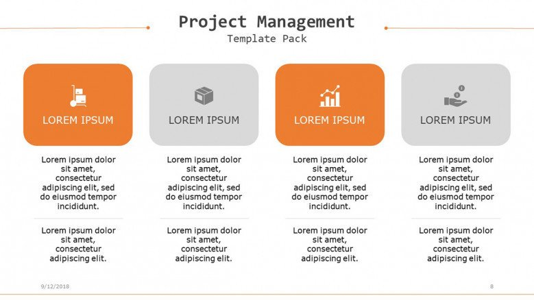 project management in four key factors with icons