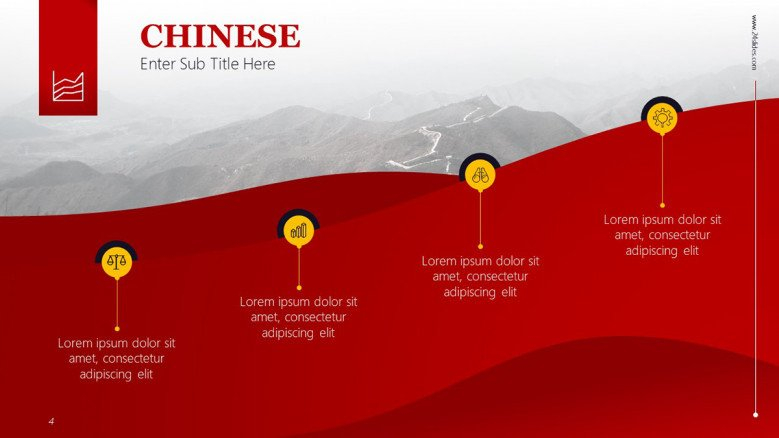 Chinese 4-step roadmap with icons as pointers