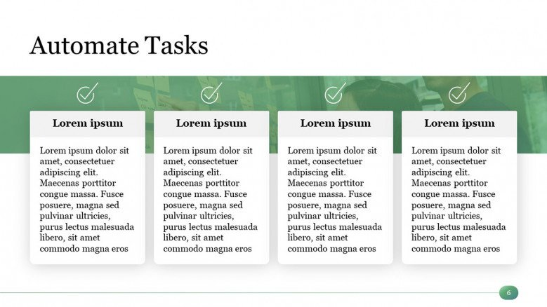 Green Automate Tasks PowerPoint Slide with four boxes