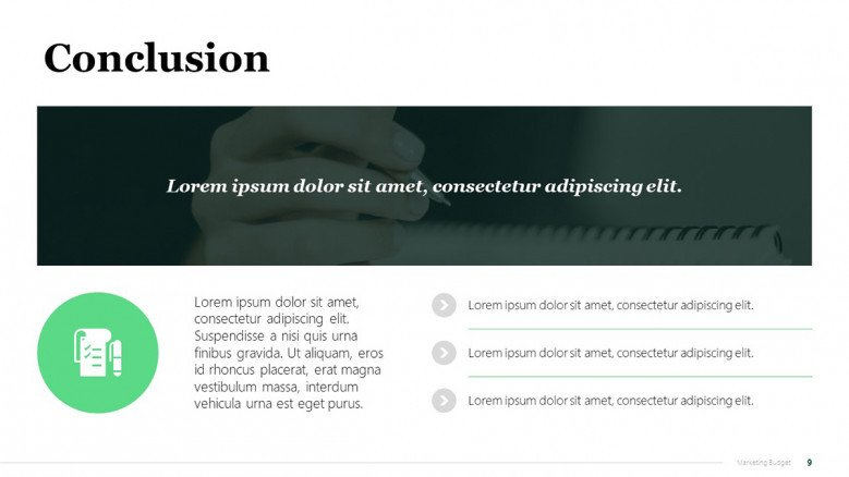 Green PowerPoint Conclusion Slide for Marketing Presentations