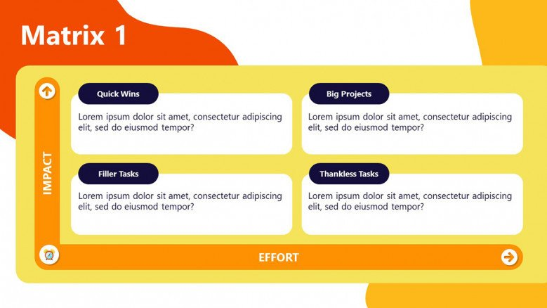 Impact Effort Matrix PowerPoint Template in playful style
