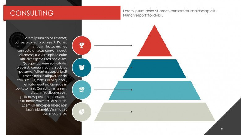 consulting in pyramid chart with four key points