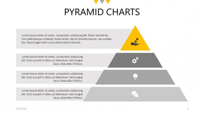 four steps flat pyramid chart slide