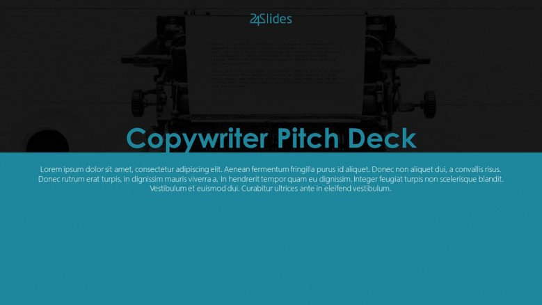 welcome slide for copywriter pitch deck presentation