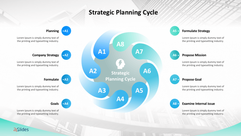 Strategic planning circle slides with 8 text circles