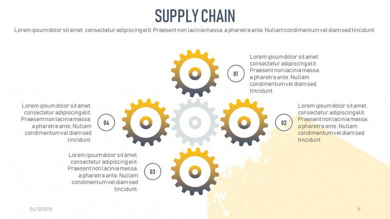 Four-stage process diagram for a Supply Chain Business Presentation