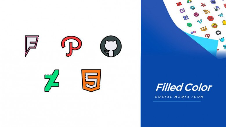 Color-filled icons of popular online tools