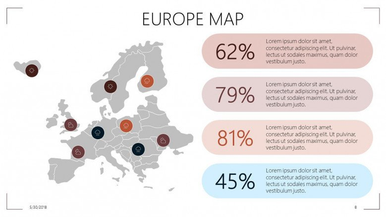 Europe map with highlight data driven percentage