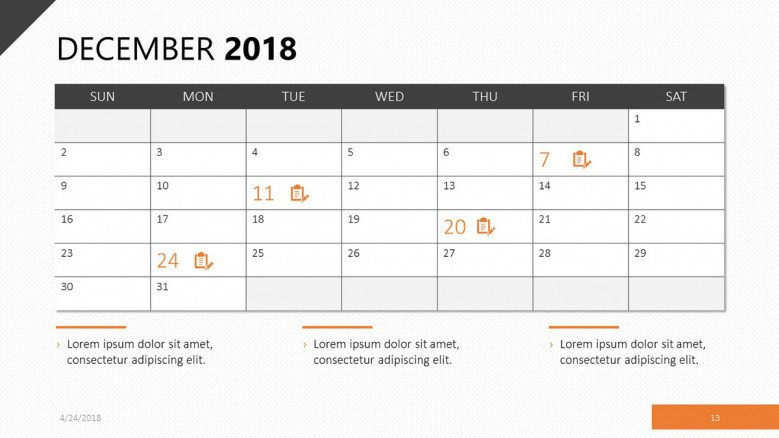 Calendar for December 2018 in orange theme