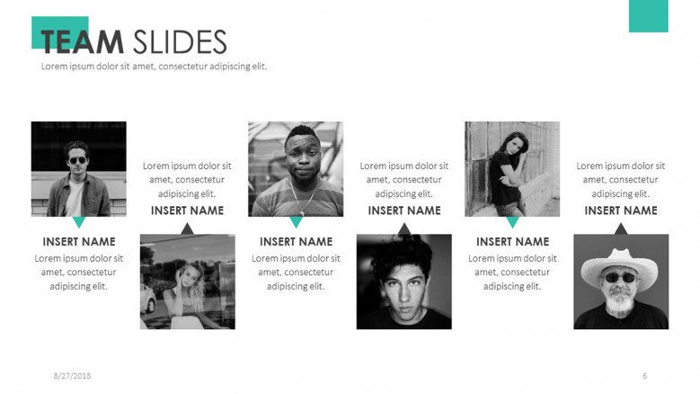 team slide presentation for profile in six squared icons