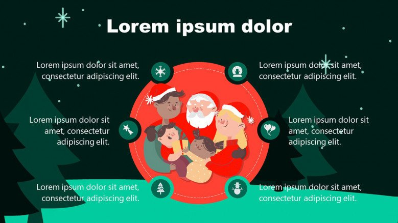 Christmas PowerPoint Background with a red circle at the center