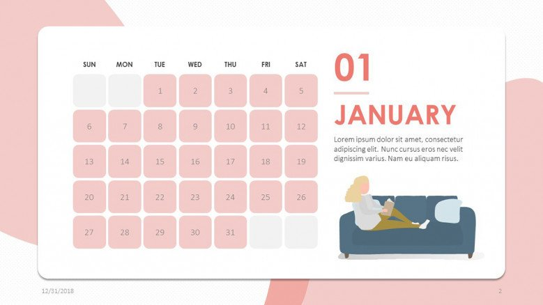 creative January slide in pink and people illustration