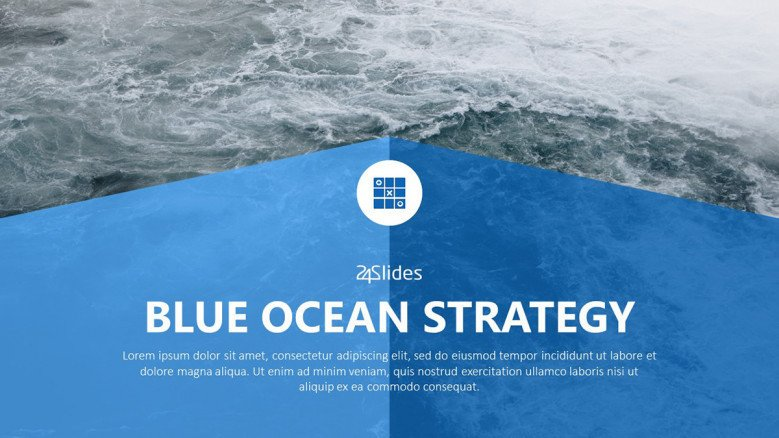 A welcome slide for the free powerpoint template for the Blue Ocean Strategy