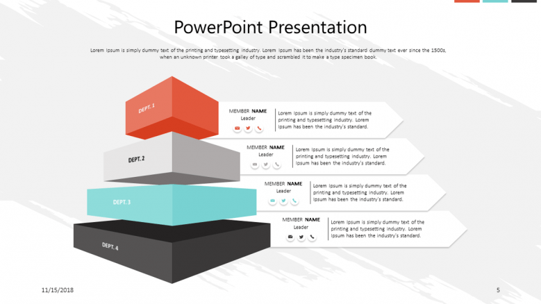 corporate presentation in pyramid blocks with four stages
