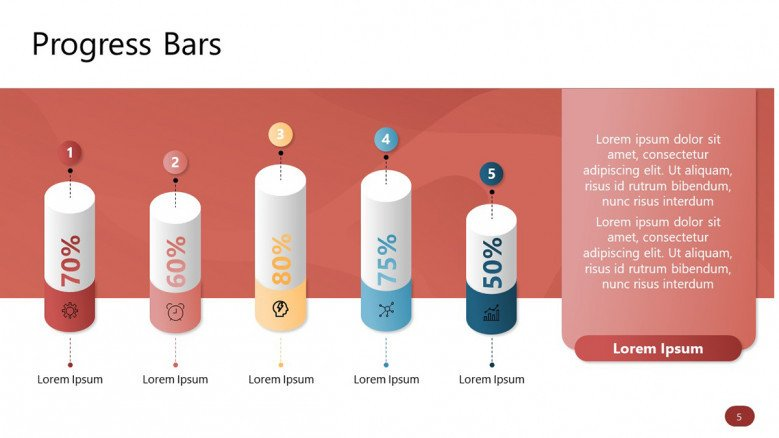 Five 3D PowerPoint Progress Bars with percentages