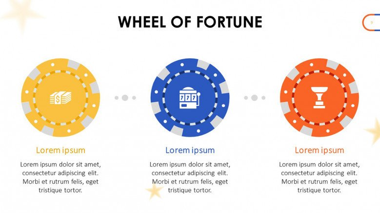 Play Money chips in yellow, blue and orange