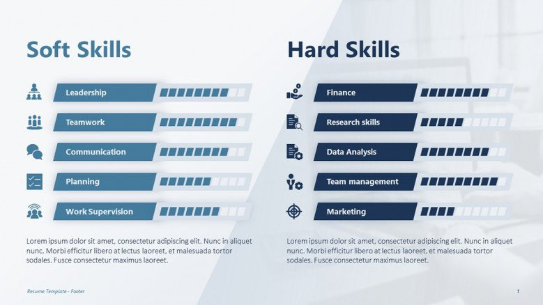 Hard and soft skills slide for a creative resume presentation with little blue icons