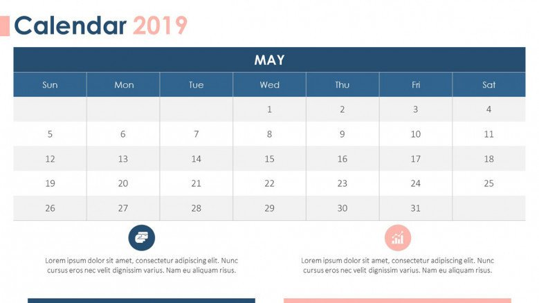 2019 calendar in May with comment box