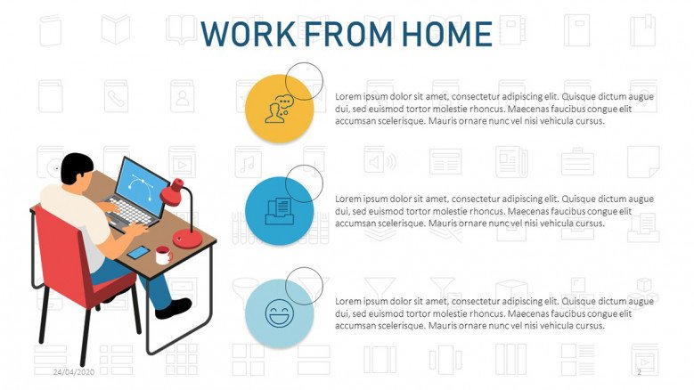 Work from home text slide featuring a remote workspace