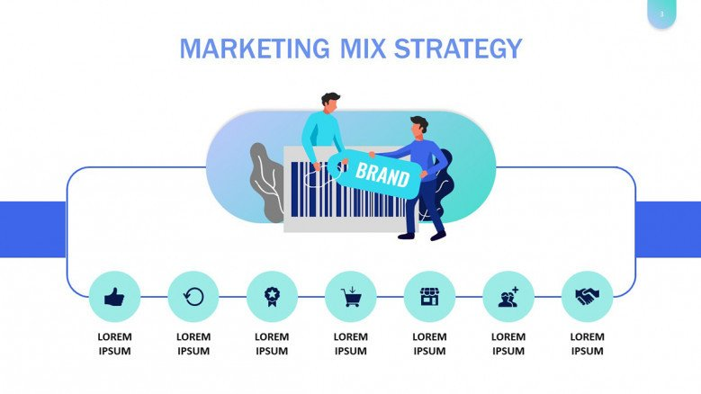 Marketing Mix Strategy PowerPoint Slide in playful style