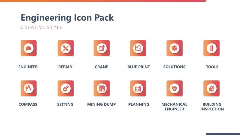 engineering icons template pack in creative style