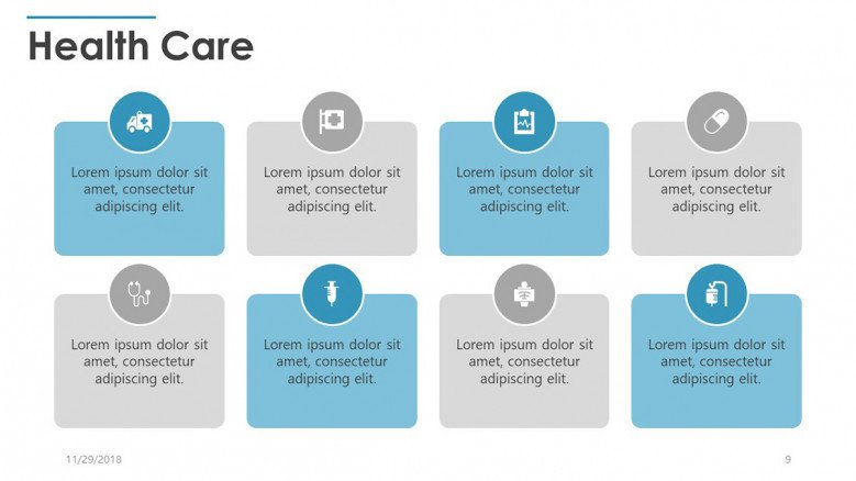 eight key factors in healthcare with text boxes