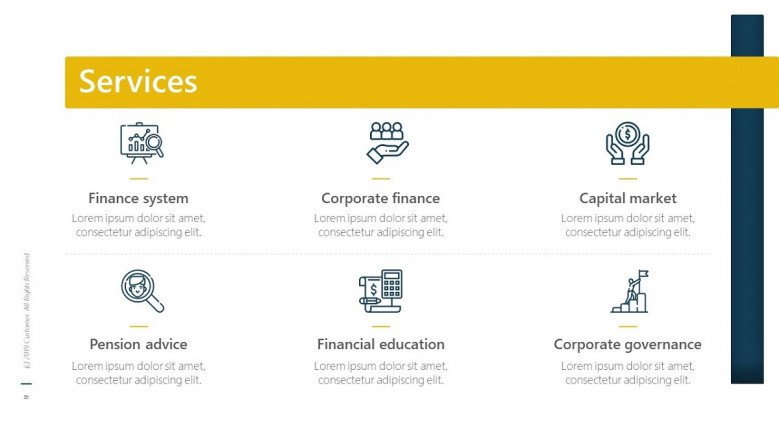 business service slide in six key factors with icon and text