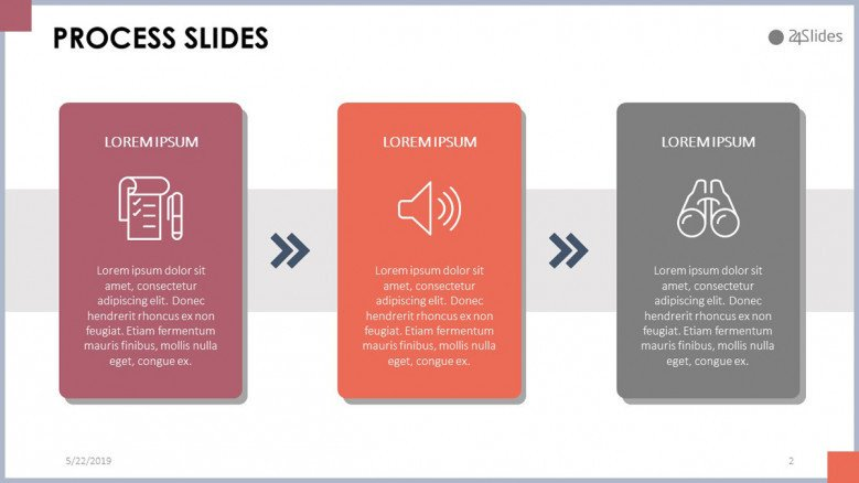 process slide in three summarized steps with icon