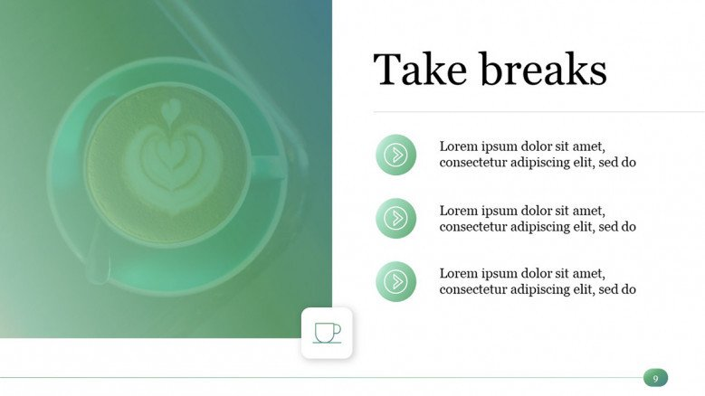 Take Breaks Slide for a Time Management PowerPoint Presentation