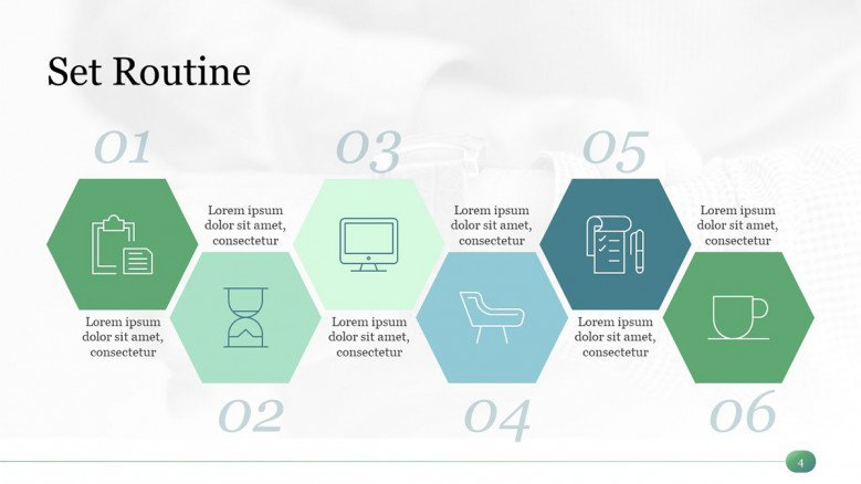 Green Routine Timeline with six stages for time management