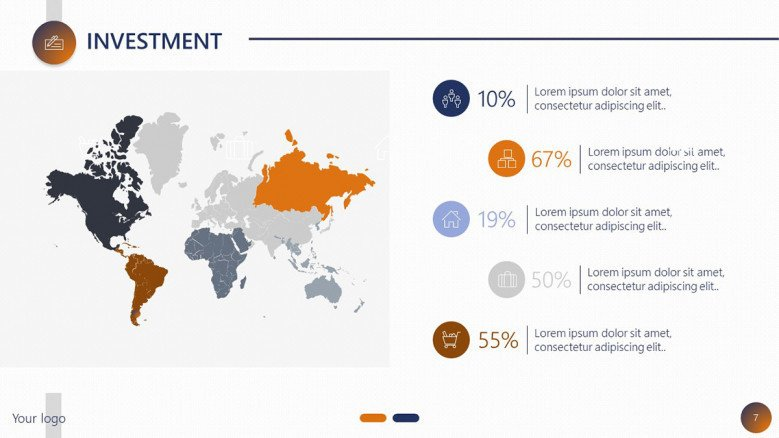 project planning investment slide with world map