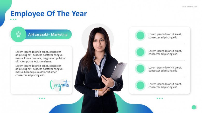 """""""Employee of the Year' congratulatory slide with key highlights in bulletpoint and picture"""