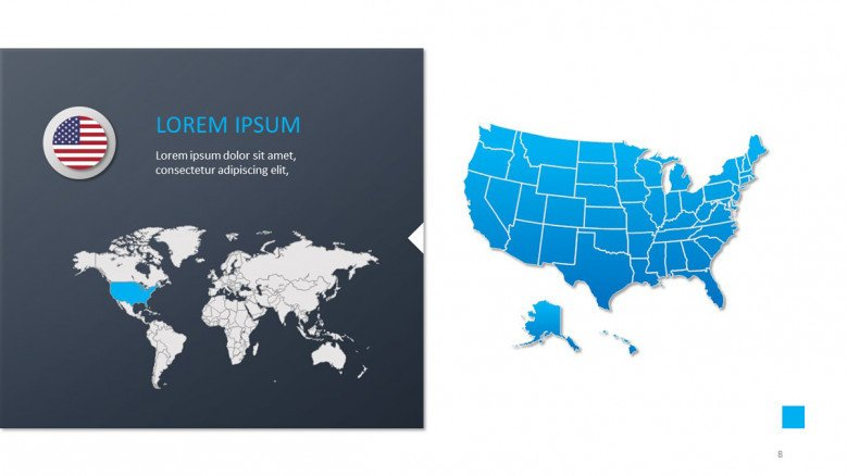 Map of the United States in blue and world map view on the left side