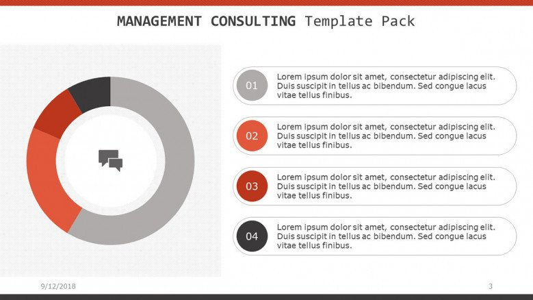 management consulting slide with pie chart and data percentage and listed text