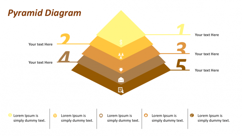 Pyramid diagram with 5 point text
