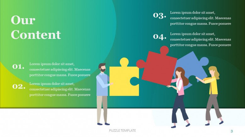 Table of content slide with jigsaw pieces in playful style