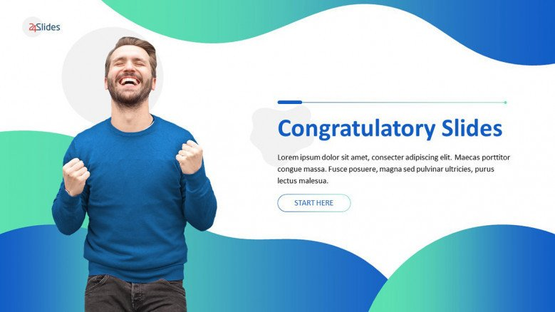 congratulatory presentation welcome slide with image in creative style