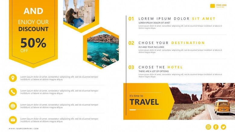 Promotional flyer for tour packages with discount coupons
