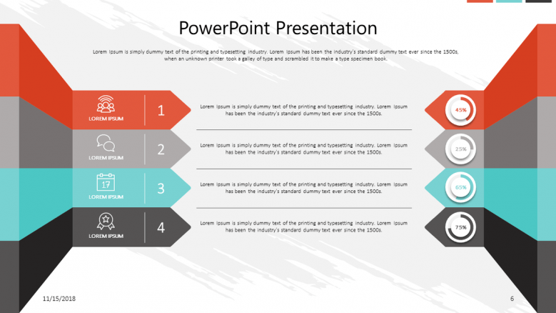 corporate slide in four key points text