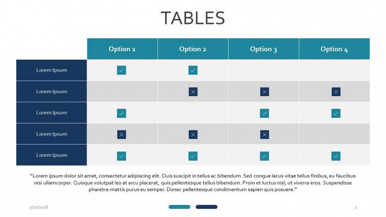 tables with marks