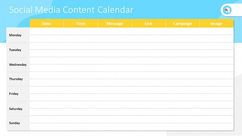 Table chart for social media planning and reporting