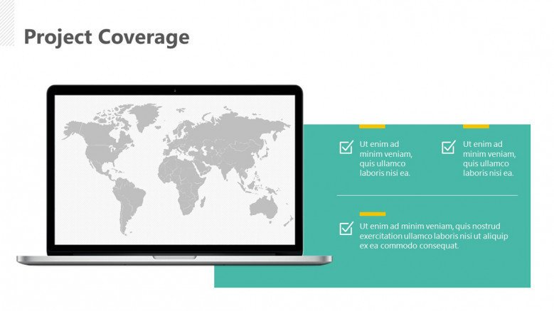 Project Coverage Slide with a world map in a laptop screen