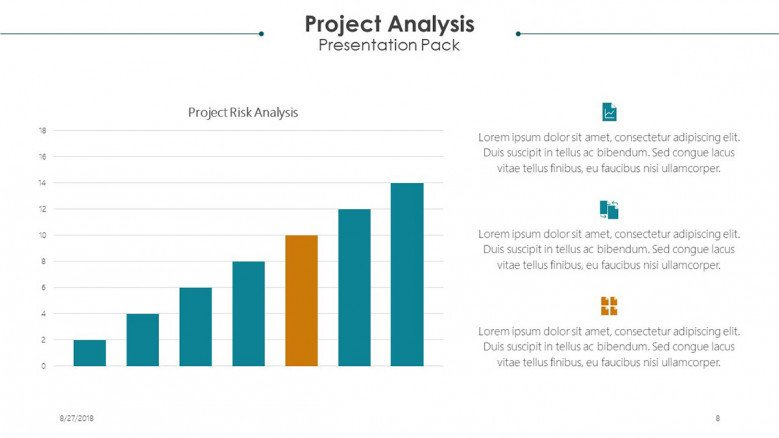 project analysis slide in bar graphs with text
