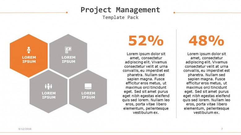 project management slide with data percentage in four segments