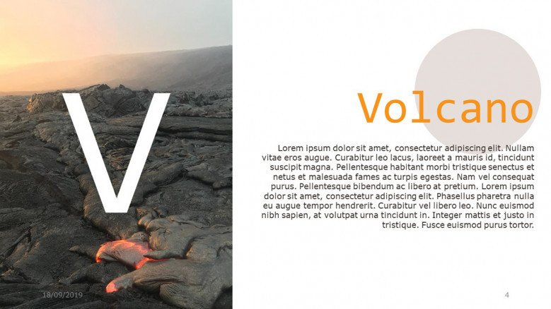 Creative text slide about volcanoes