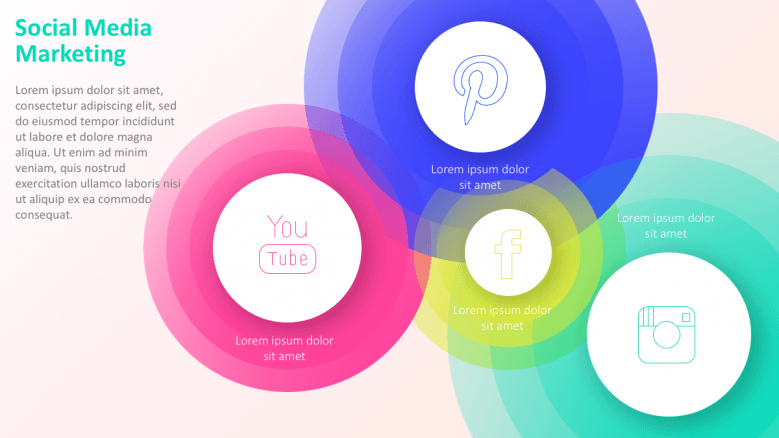 colorful circles with social media icons