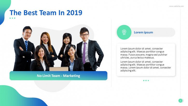 'The Best Team' congratulatory slide with image and text