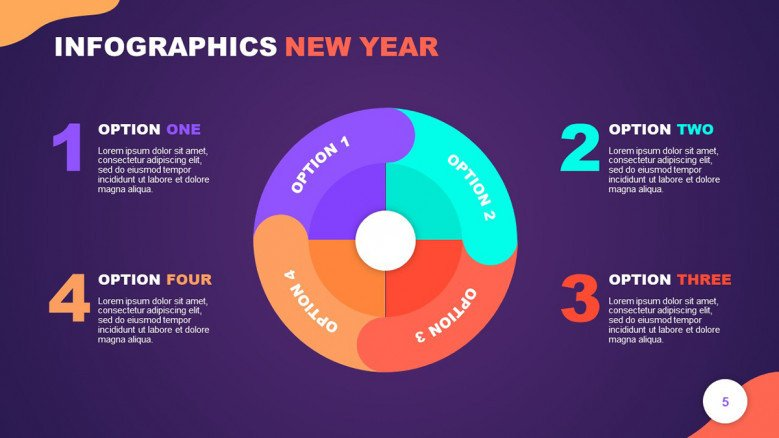 Colorful Infographic New year wheel with four sections