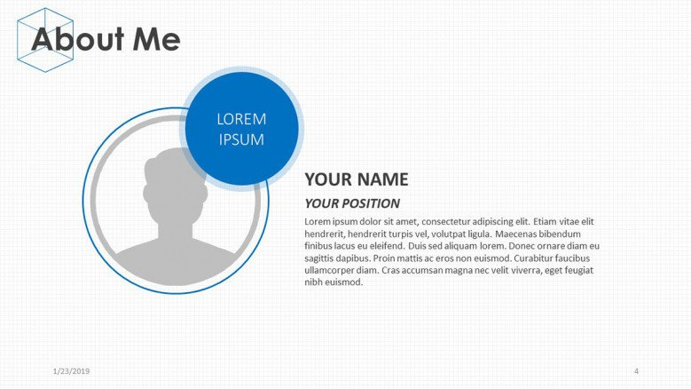 about me slide personal profile with text